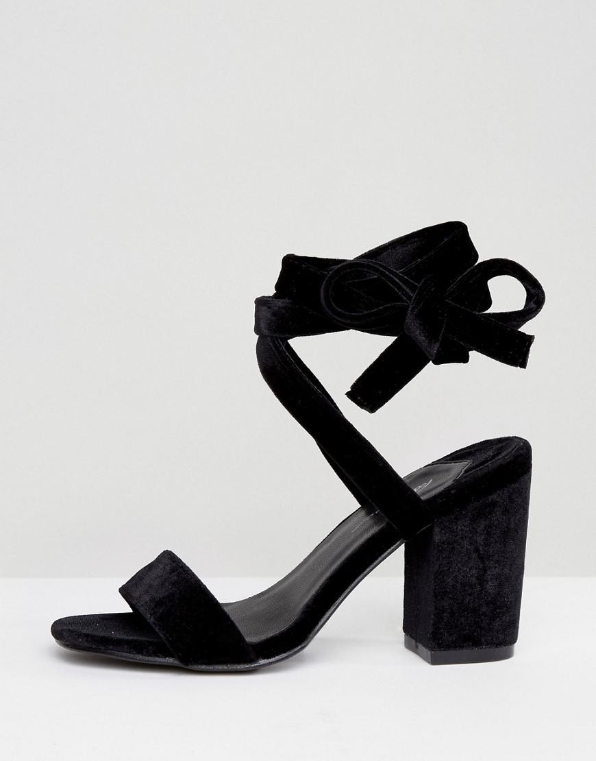 934e5c61678 Lyst - Park Lane Tie Ankle Block Velvet Heel Sandal in Black