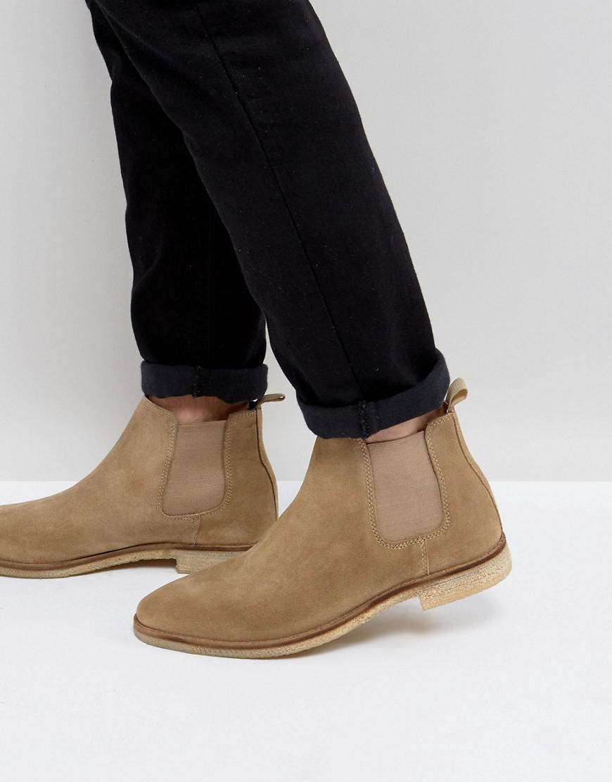 sale visa payment cheap sale prices ASOS Wide Fit Chelsea Boots In Stone Suede With Natural Sole low shipping cheap price Orange 100% Original cheap explore 21B5Aorx