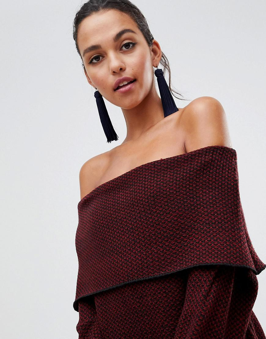 Lyst Liquorish Off Shoulder Midi Jumper Dress In Red