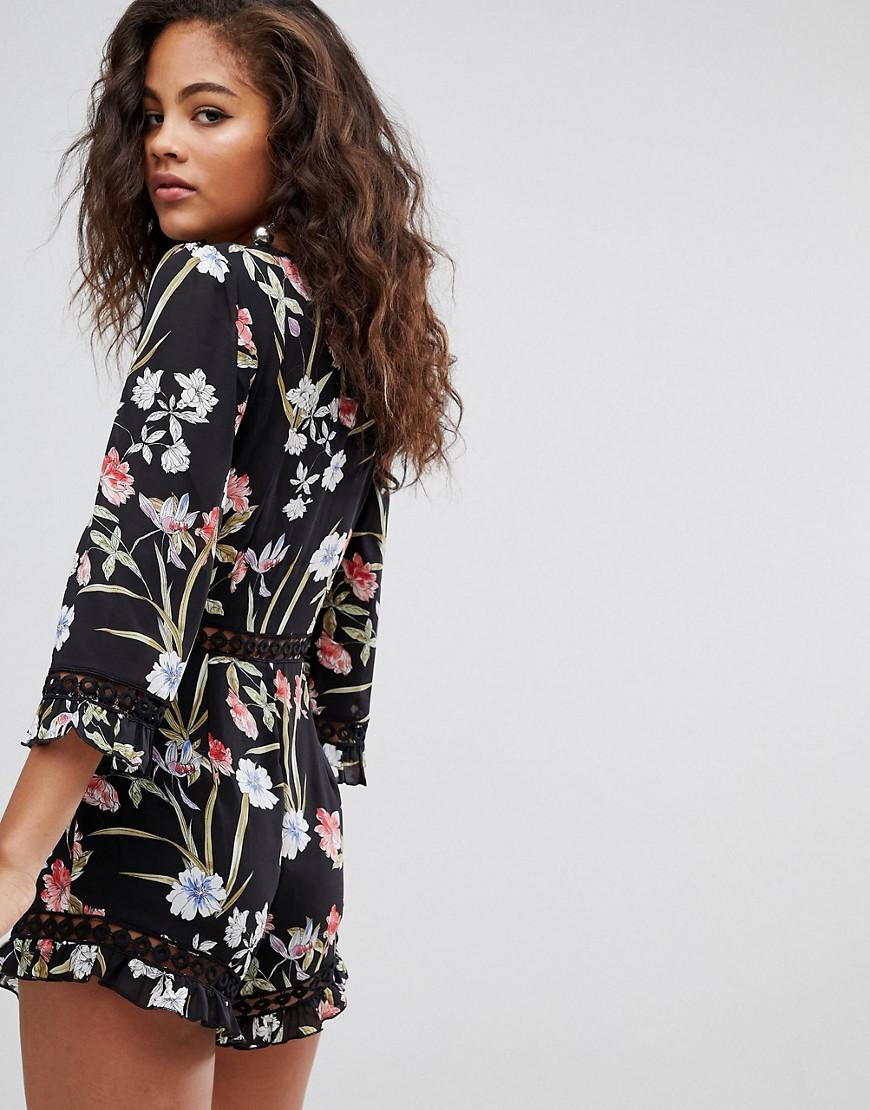 8bc444e0a6c Missguided Exclusive Tall Printed Playsuit in Black - Lyst