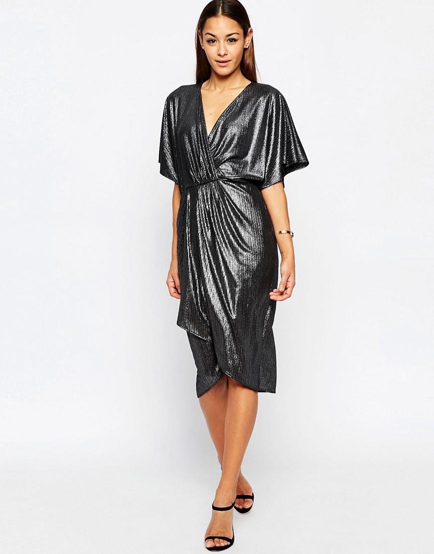 484c82623ff Asos Metallic Wrap Kimono Midi Dress in Metallic