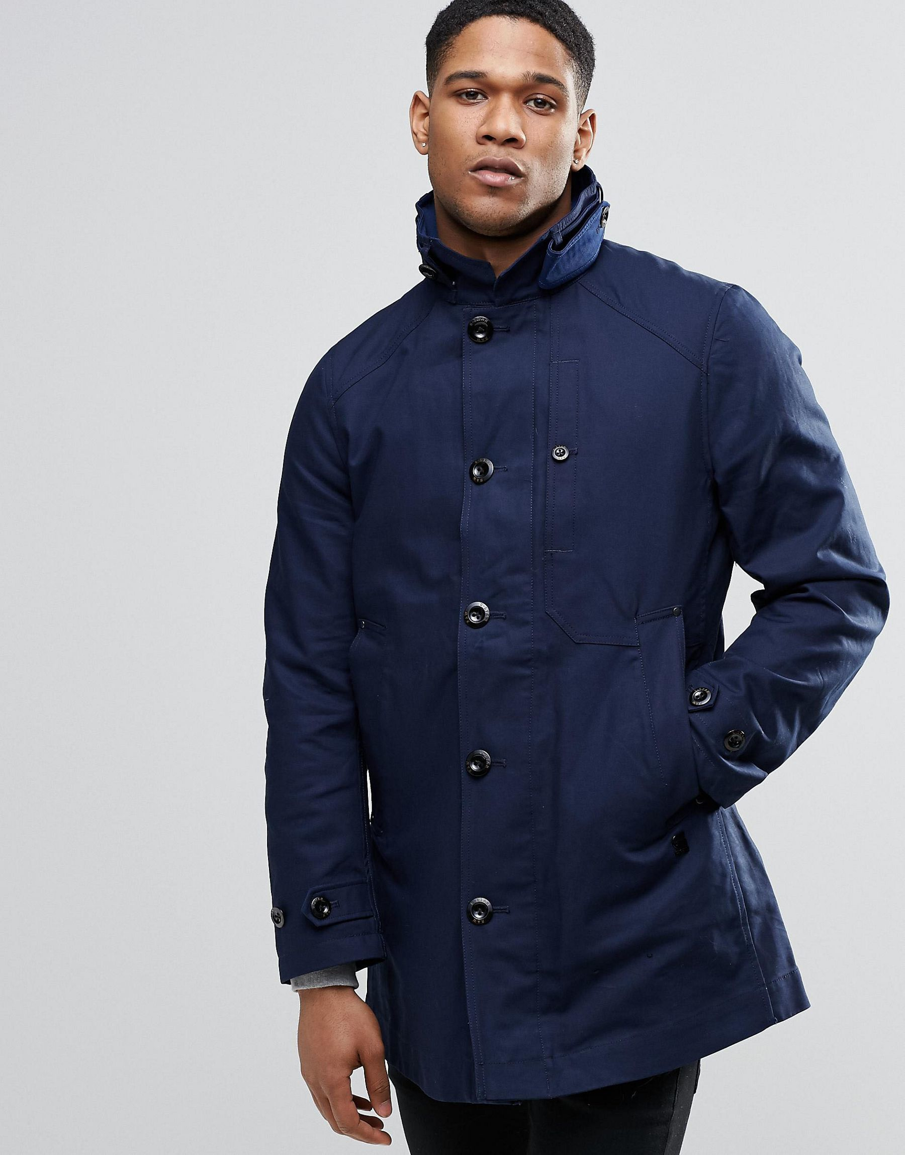 star raw garber trench coat in blue for men lyst. Black Bedroom Furniture Sets. Home Design Ideas