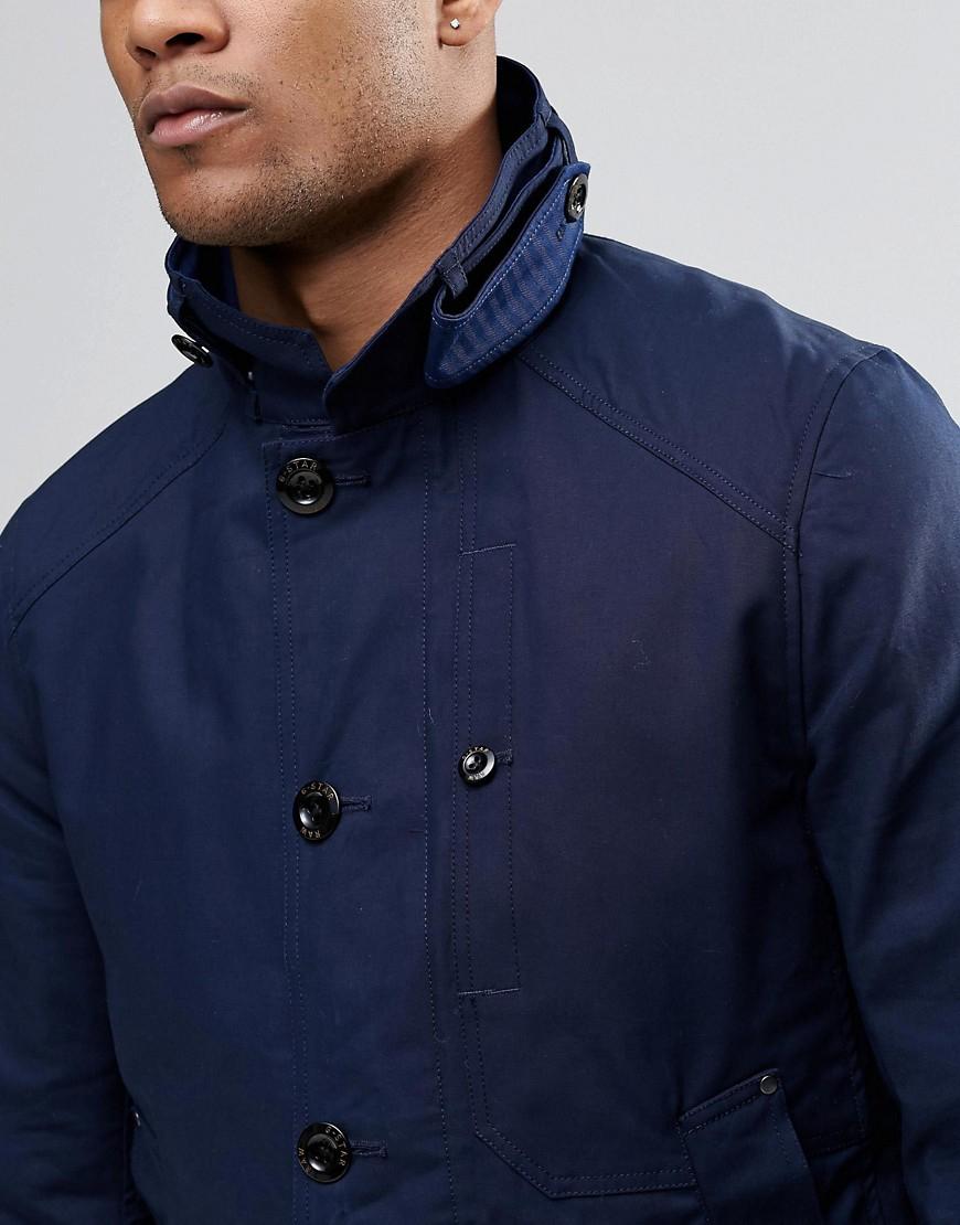 g star raw garber trench coat navy in blue for men lyst. Black Bedroom Furniture Sets. Home Design Ideas