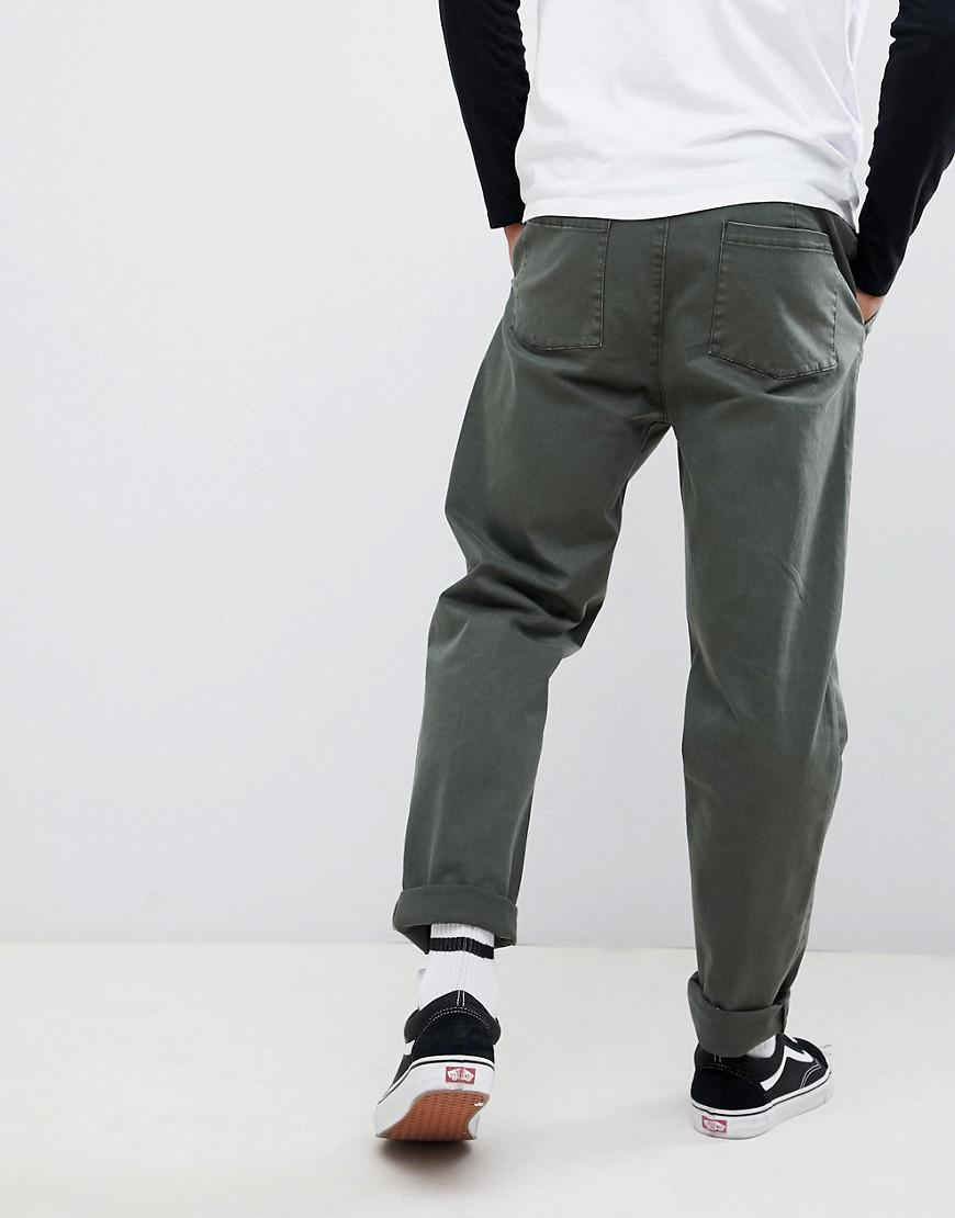 cea99b64ae95 ASOS Relaxed Chinos In Dark Green Wash With Turn Up in Green for Men ...