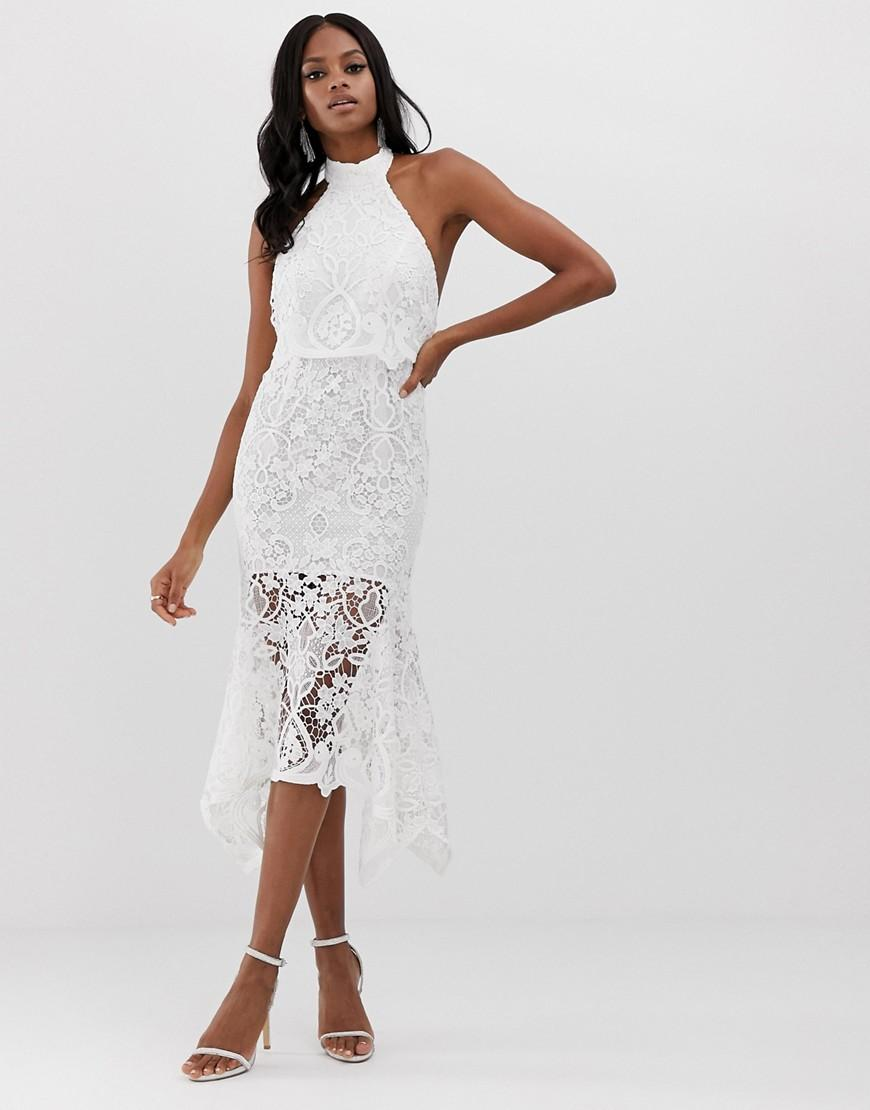 234d3f44ada79 Lyst - ASOS High Neck Midi Dress In Guipure Lace And Peplum in White