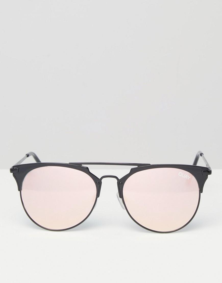 446c1c98d3e9c Quay I m Jealous Metal Cat Eye Sunglasses With Rose Mirror Lens in ...