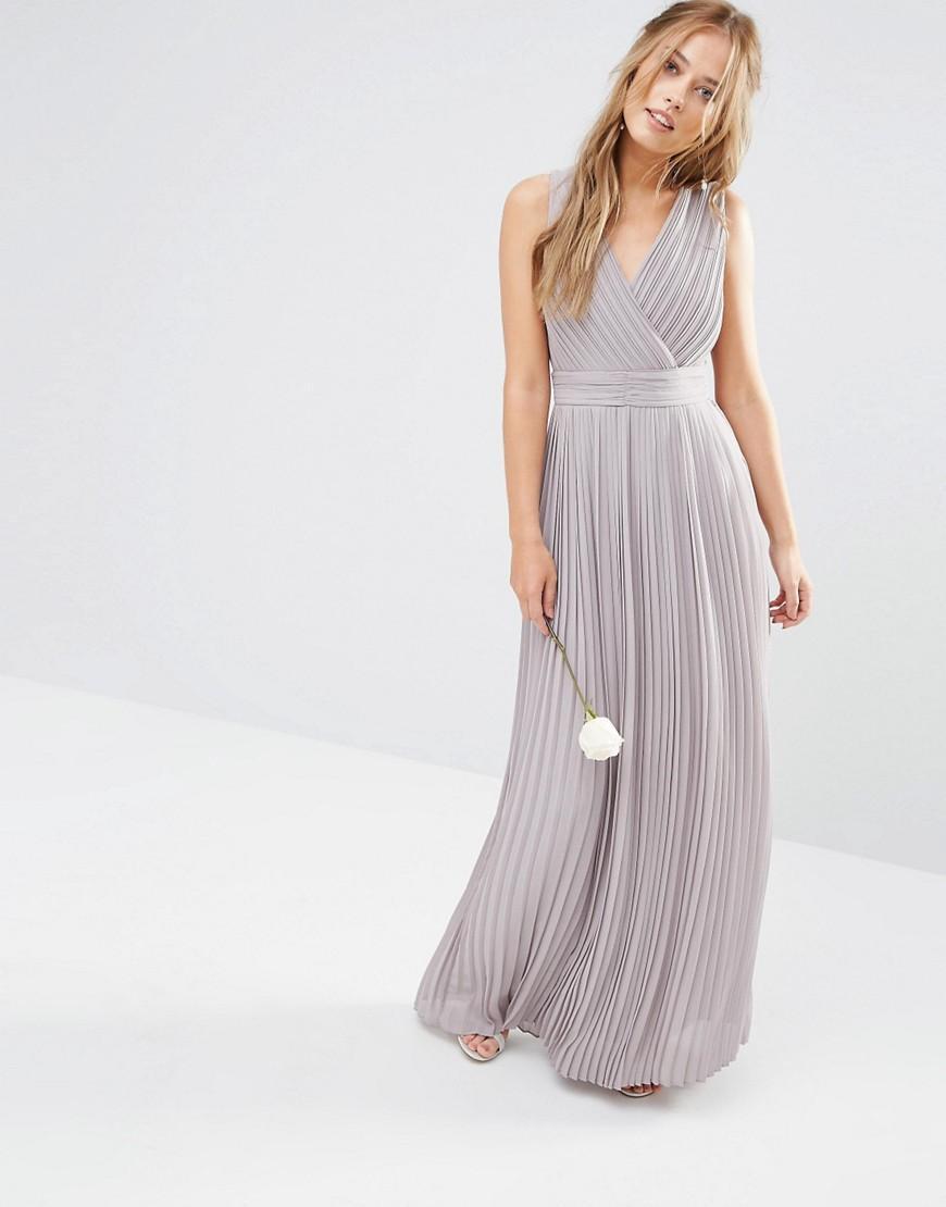 Lyst tfnc london wedding pleated wrap maxi dress in gray for Tfnc wedding wrap maxi dress