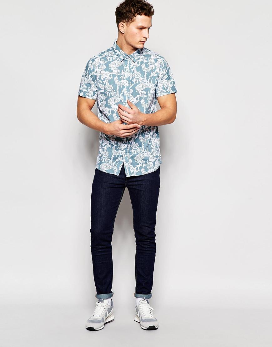 Afends Doodles Short Sleeve Shirt in Blue for Men