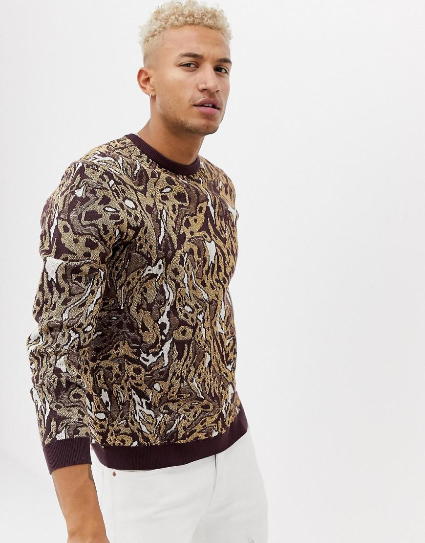 f06d3d61a8d Lyst - ASOS Knitted Jumper With Leopard Design In Metallic Yarn in ...