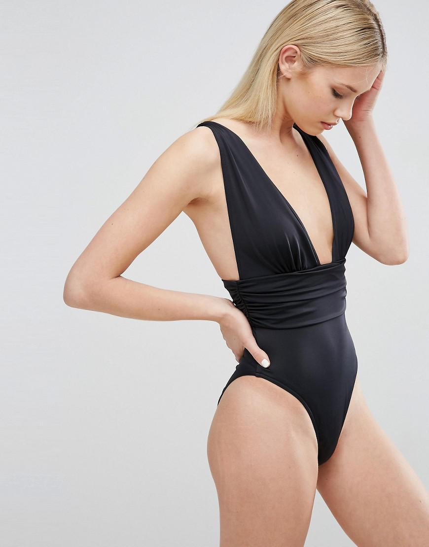 2f67bce8b1e10 ASOS Gathered Waist Band Swimsuit in Black - Lyst