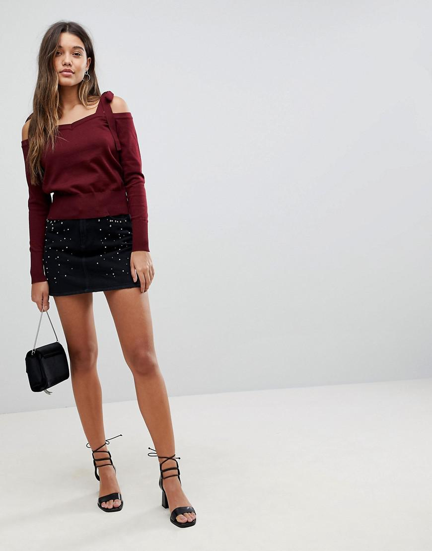 Original Knit Cold Shoulder Jumper With Tie Sleeve Detail - Burgundy Fashion Union With Paypal Cheap Price uEzY1ORoZf