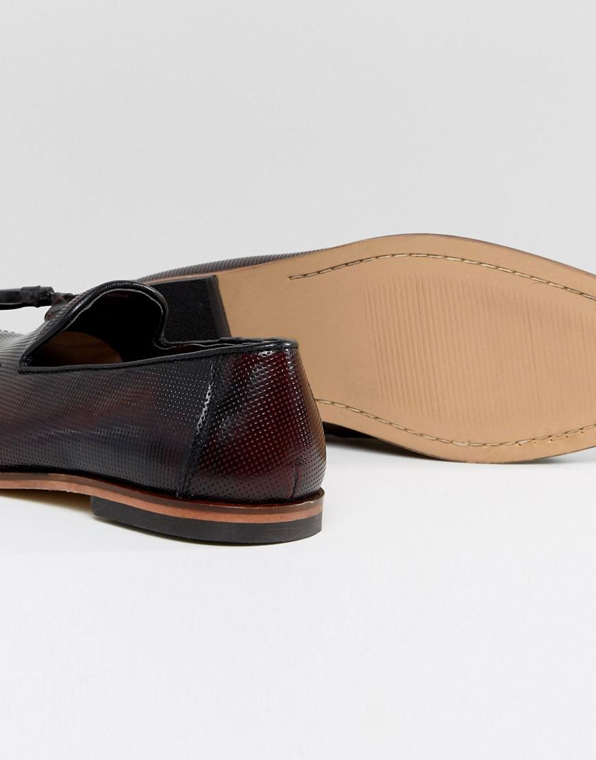 Loafers In Burgundy Leather With Emboss Texture - Red Asos kmXclJ