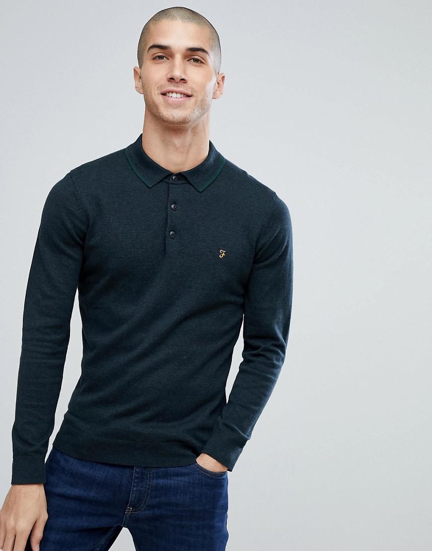 1f504a4b Farah Farson Slim Fit Long Sleeve Knitted Polo In Black Marl in ...