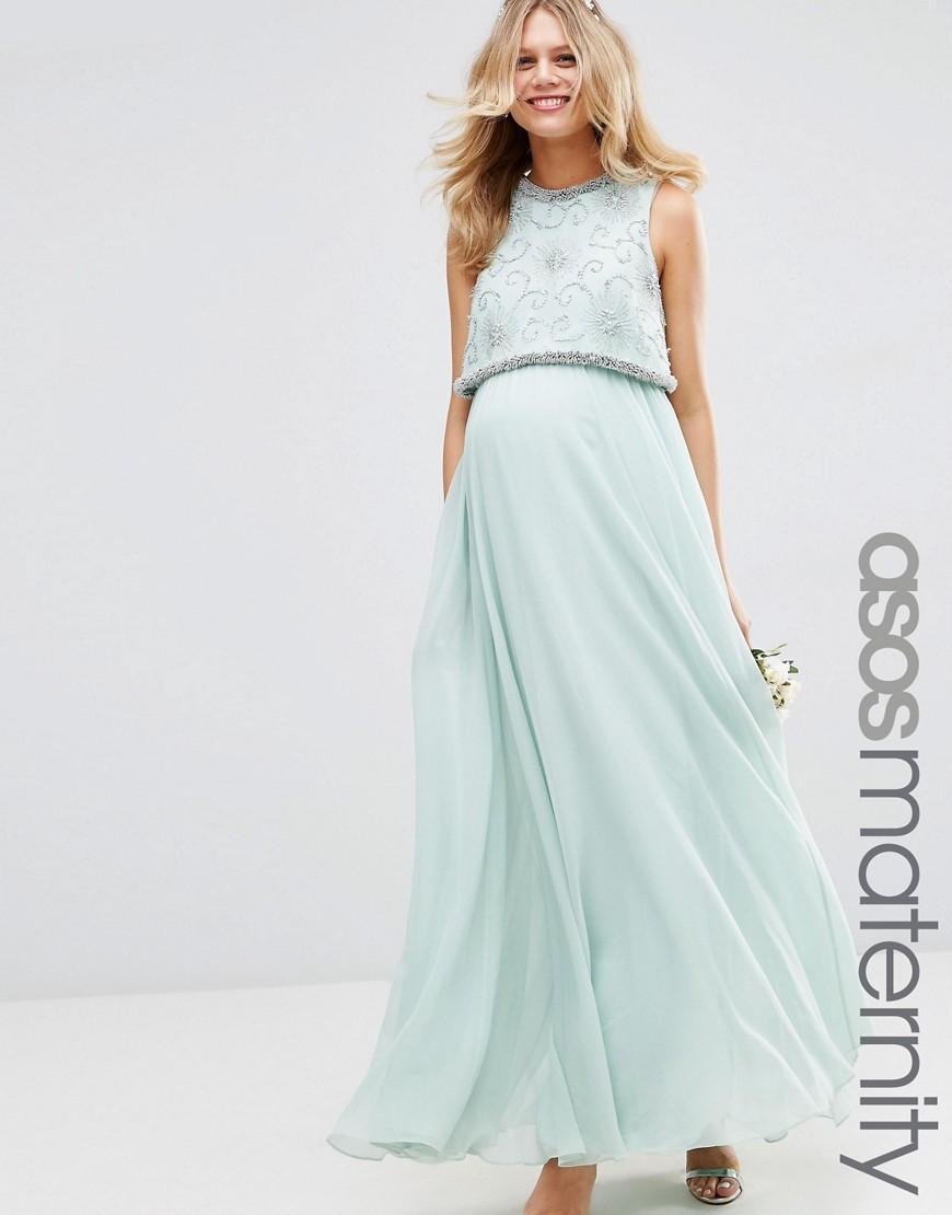 Lyst - Asos Wedding Embellished Crop Top Maxi Dress in Green