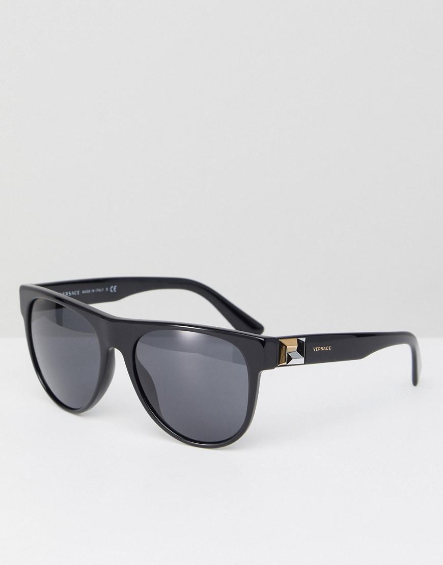 68aa67284b Versace 0ve4346 Round Sunglasses In Black 57mm in Black for Men - Lyst