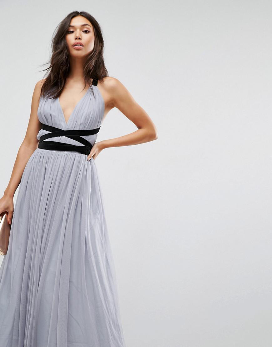 19609dd4b9a ASOS Premium Tulle Maxi Prom Dress With Velvet Ties in Gray - Lyst