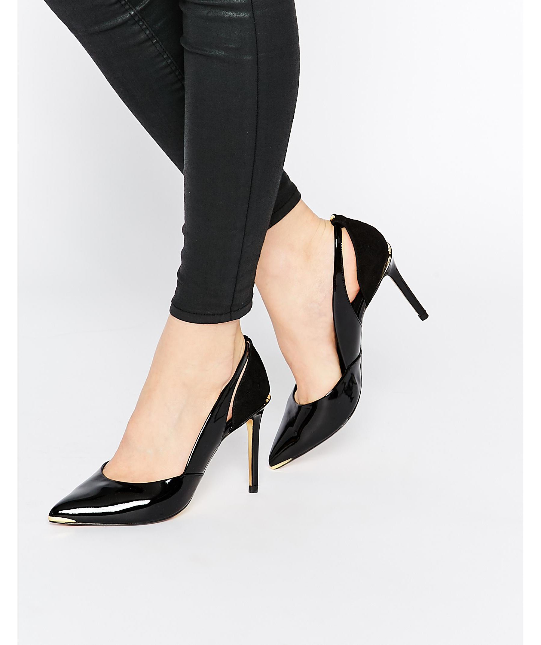 e092cc0cf2f197 Lyst - Ted Baker Jiena Patent Cut Out Heeled Pumps in Black