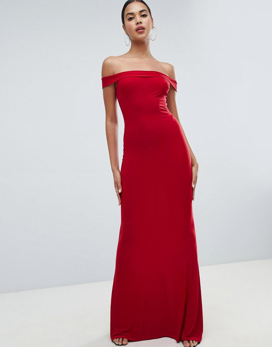 0ff63ae2 Lyst - Club L Bardot Fishtail Maxi Dress in Red
