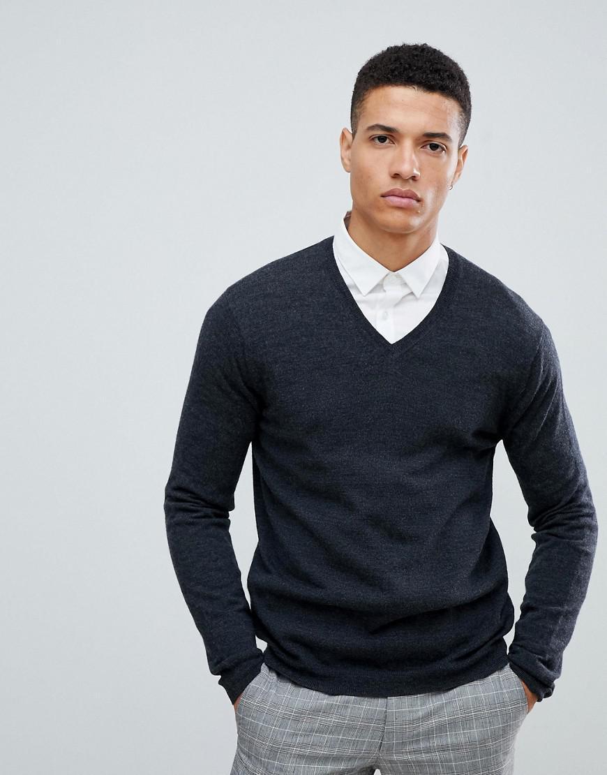 2ff70df5 ASOS Merino Wool V-neck Jumper In Charcoal in Gray for Men - Lyst
