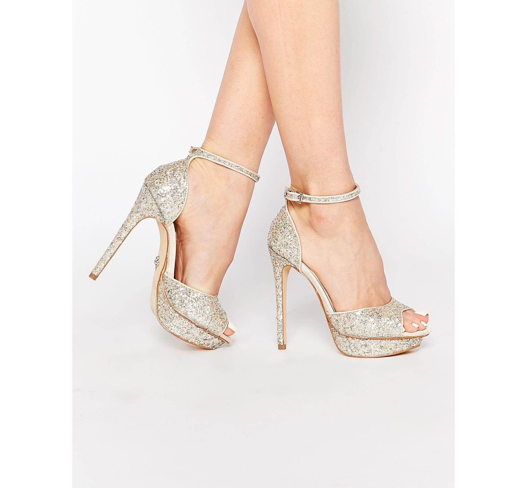 c6cbe3964e5cf4 Lyst - Lipsy Molly Silver Glitter Platform Heeled Sandals in Metallic