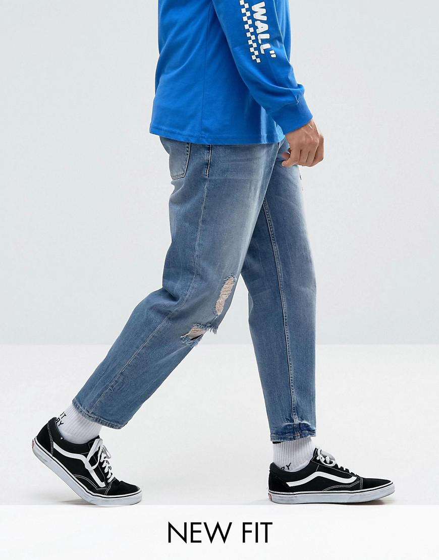 5e639b04c177 ASOS Asos Skater Jeans In Mid Wash Blue With Abrasions in Blue for ...