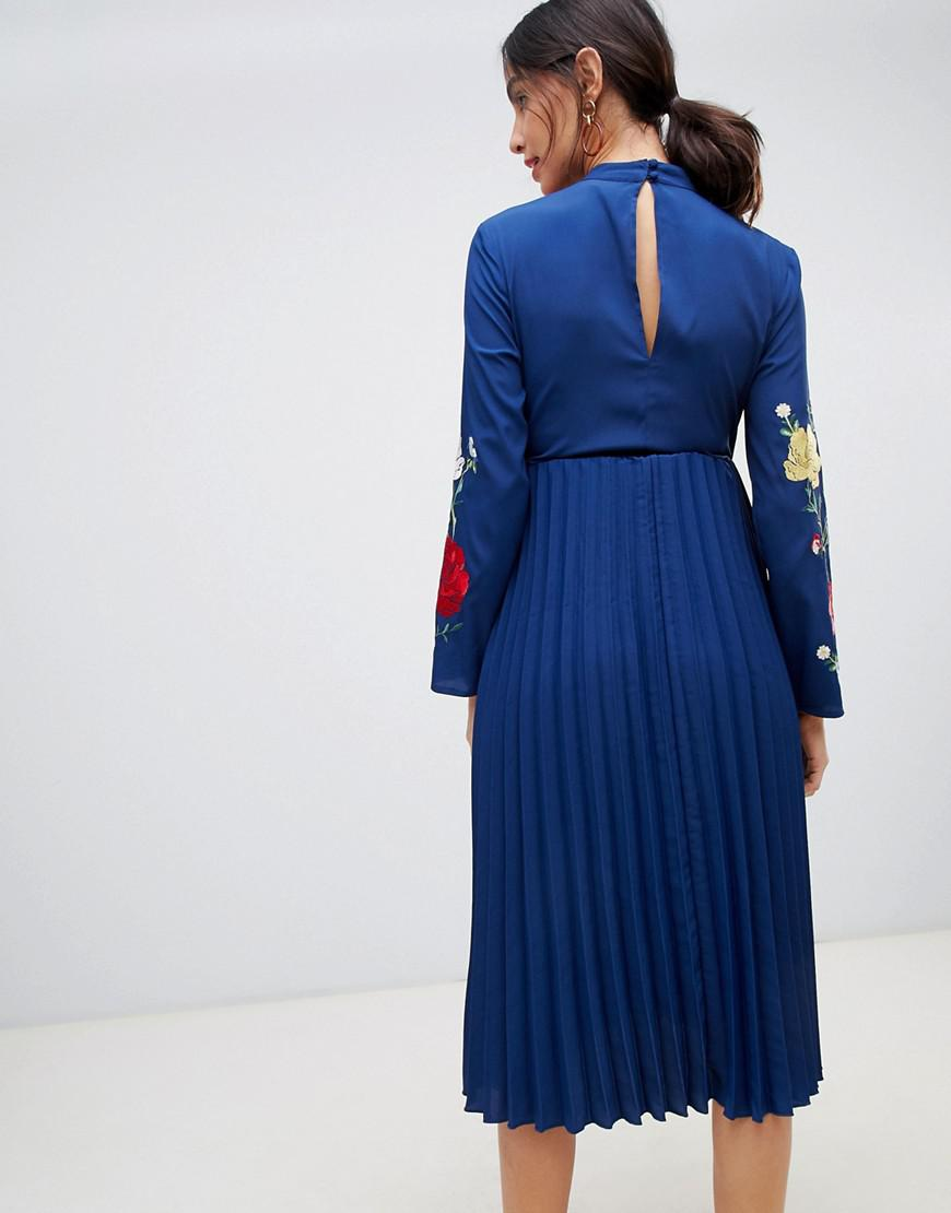 Lyst - ASOS Asos Design Maternity Pleated High Neck Midi Dress With  Embroidery in Blue 99fd933d0