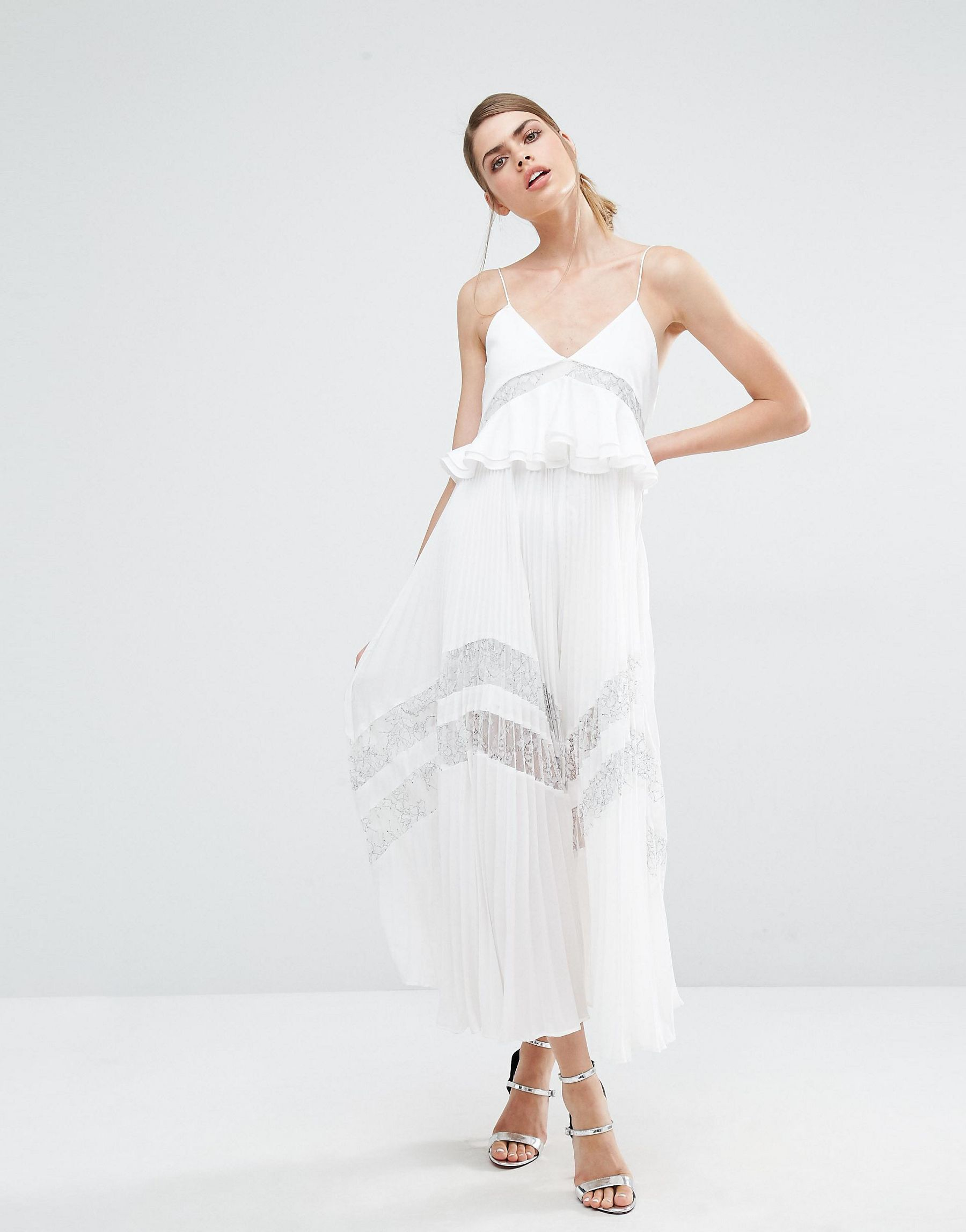 Self portrait Amelia Pleated Lace Dress In White White