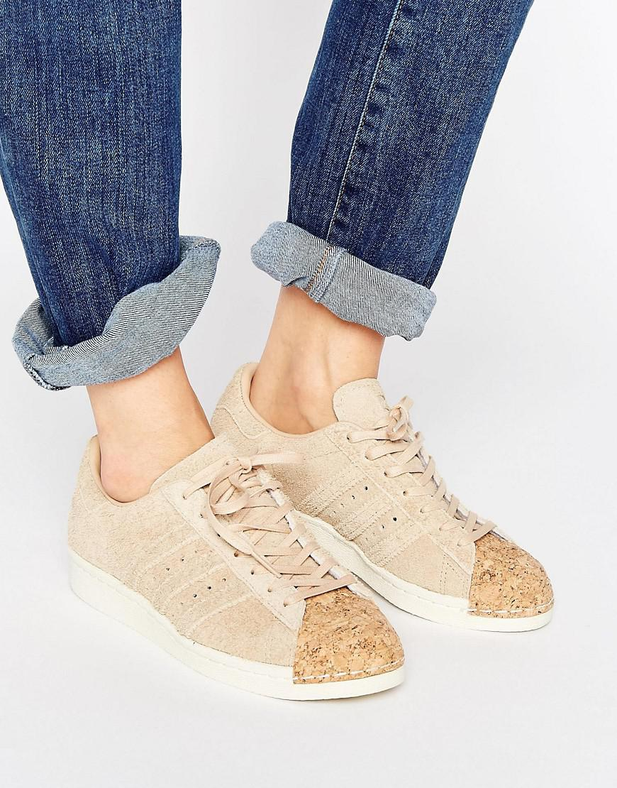 f57849e22df0 Lyst - adidas Originals Nude Superstar 80s Sneakers With Cork Toe ...