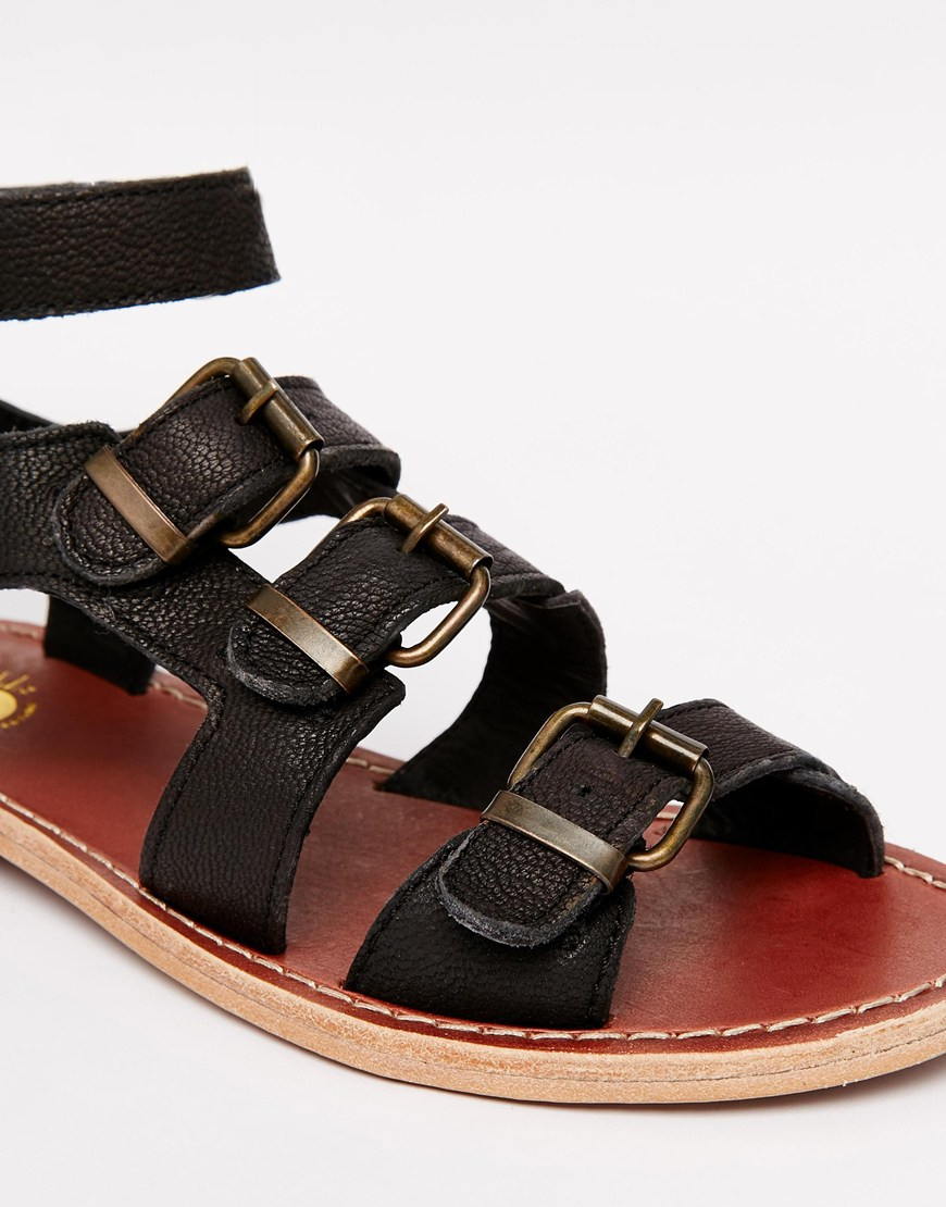 H By Hudson Hy By Hudson Newton Gladiator Leather Flat