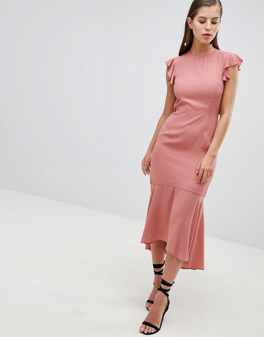 Pay With Visa For Sale For Sale The Cheapest Hope and Ivy Hope & Ivy Lattice Back Pencil Dress with Ruffle PI4zrvUX
