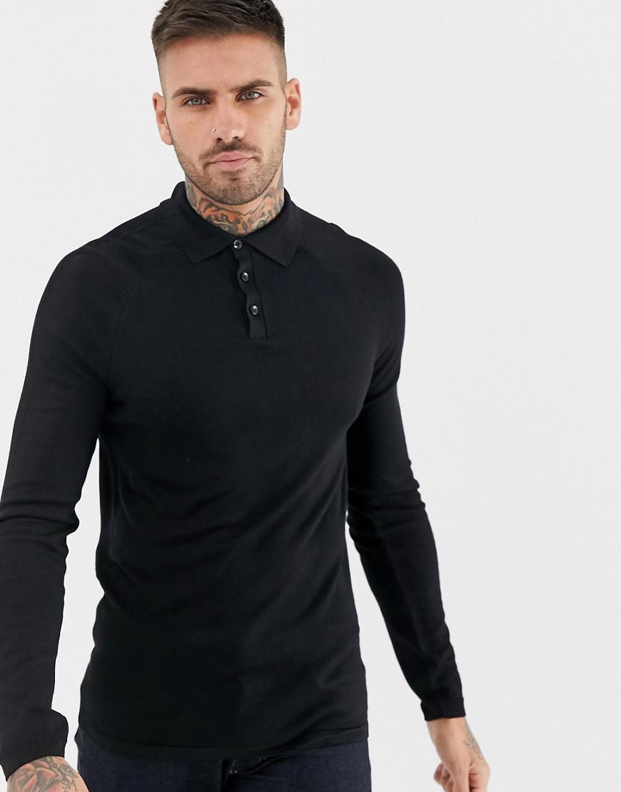 b9e9f742 River Island Muscle Fit Polo In Black in Black for Men - Lyst