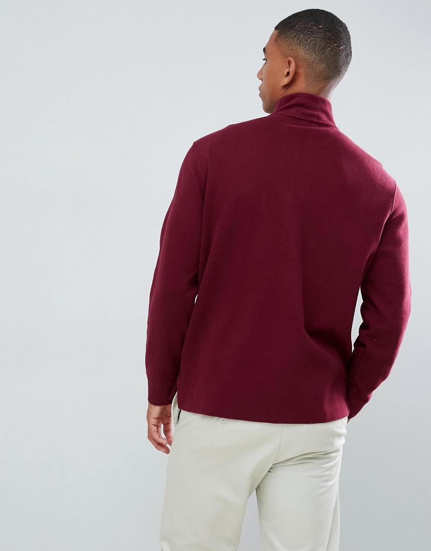 fe298fd28ed28 Lyst - Pull en tricot de coton demi-fermeture clair avec logo joueur de  polo multicolore Polo Ralph Lauren pour homme en coloris Rouge