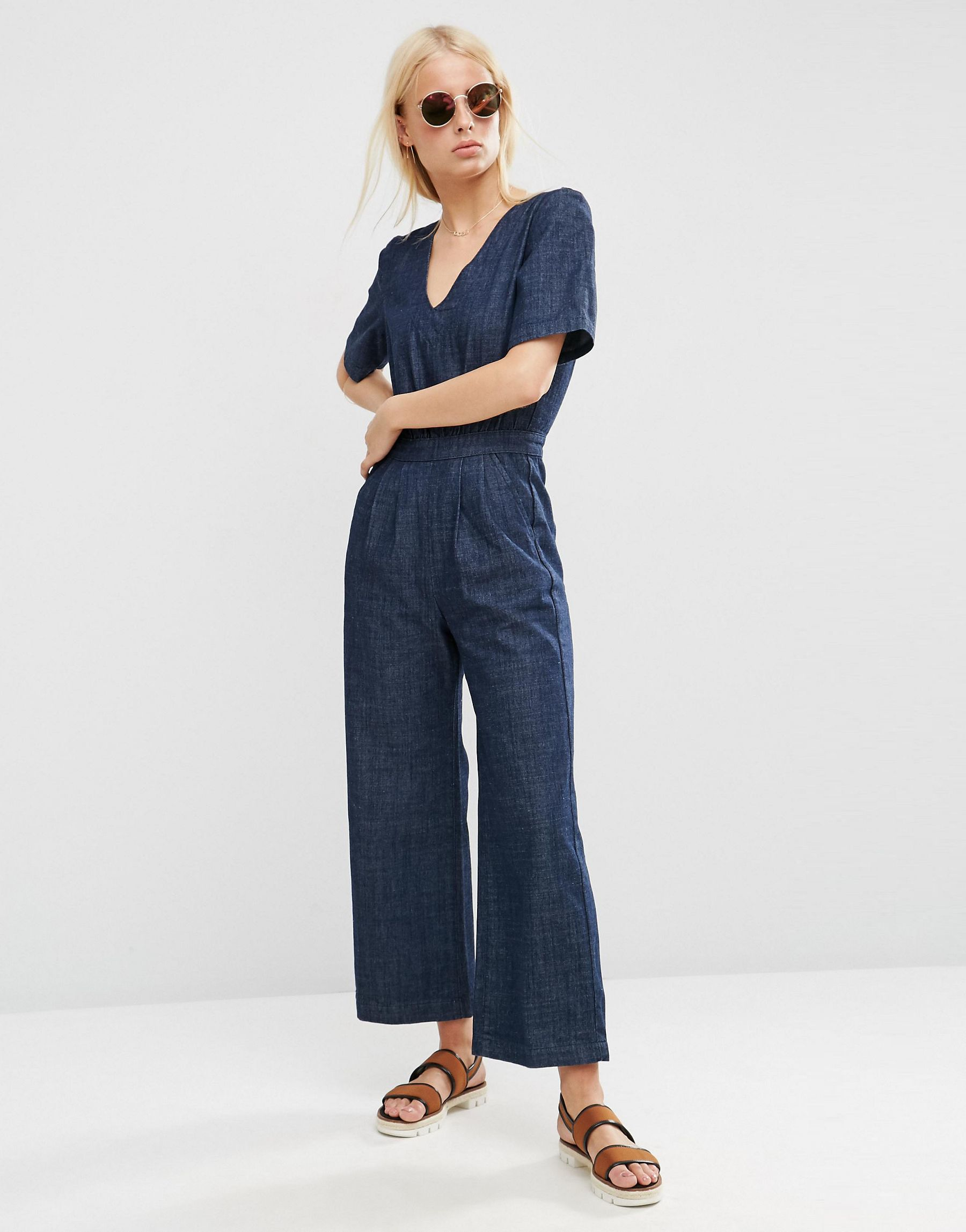 09e9c1d88bf ASOS - Blue Denim Wide Leg Jumpsuit In Cropped Length With Tie Back - Lyst