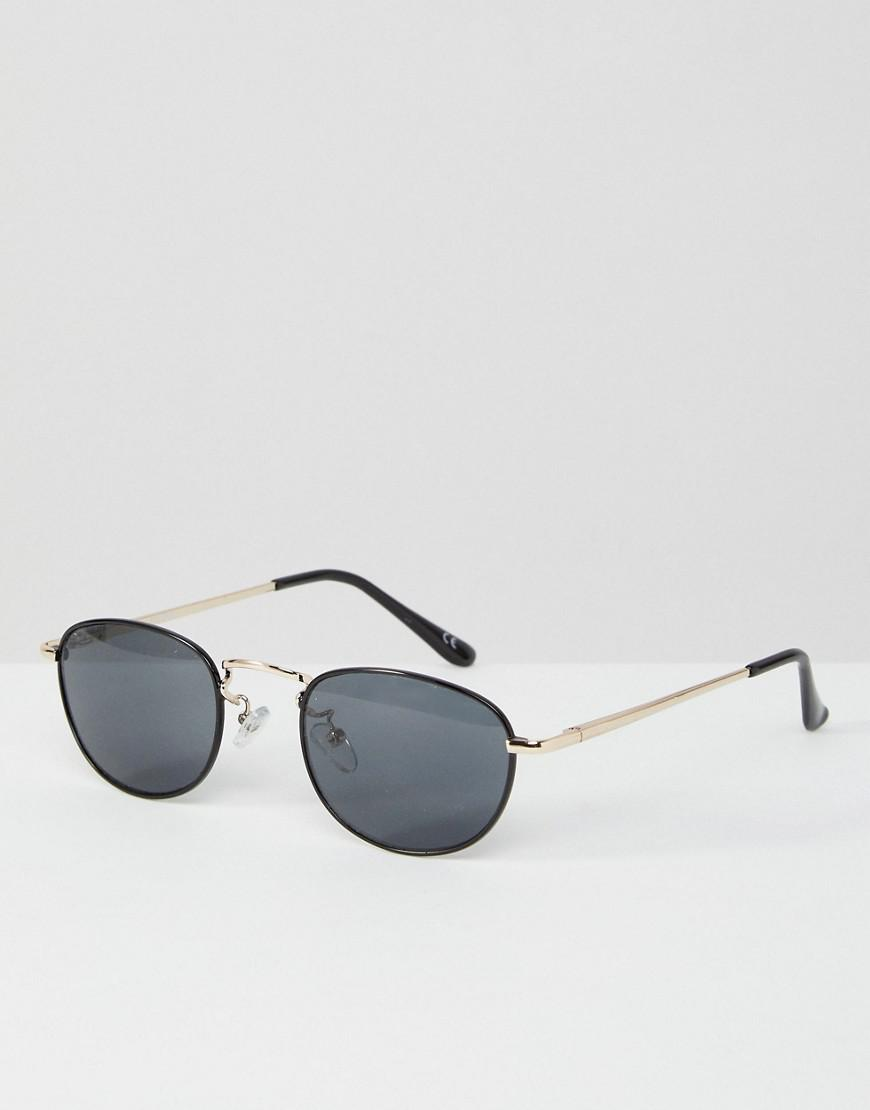 ASOS. Petites lunettes de soleil ovales avec pont mtallique argent style  90 s femme de coloris noir 18f4db41a704