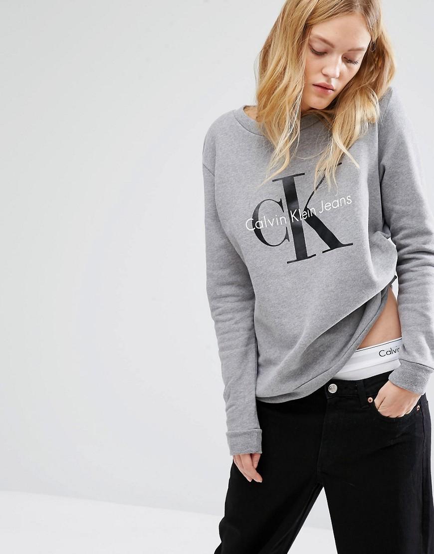 calvin klein jeans logo sweatshirt in gray lyst. Black Bedroom Furniture Sets. Home Design Ideas