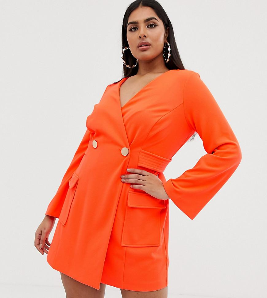 65caa1972747 ASOS. Women's Orange Asos Design Curve Fluoro Tux Dress With Button Detail