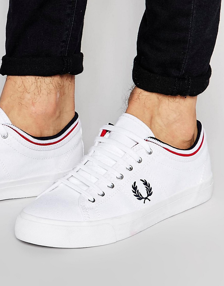 2aa34e3372 Fred Perry Kendrick Tipped Cuff Canvas Plimsolls in White for Men - Lyst