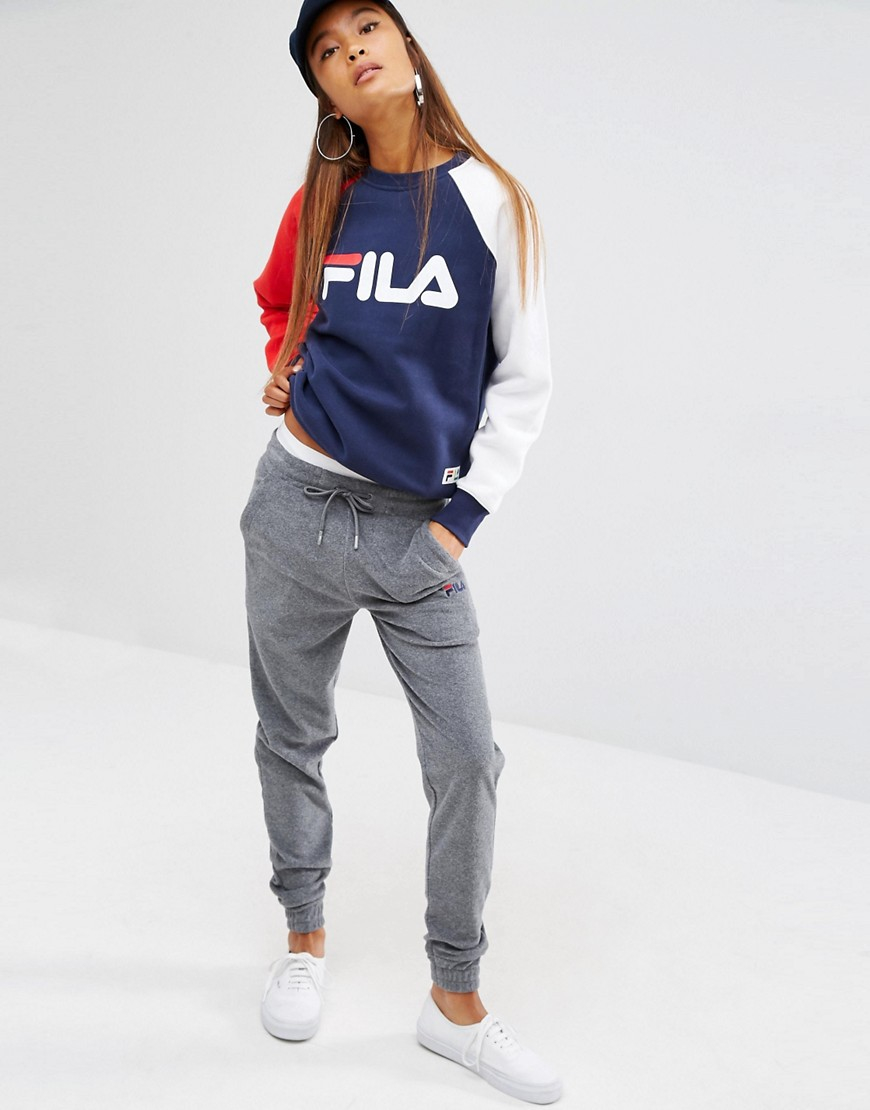 fila baggy boyfriend sweat pants in gray lyst. Black Bedroom Furniture Sets. Home Design Ideas
