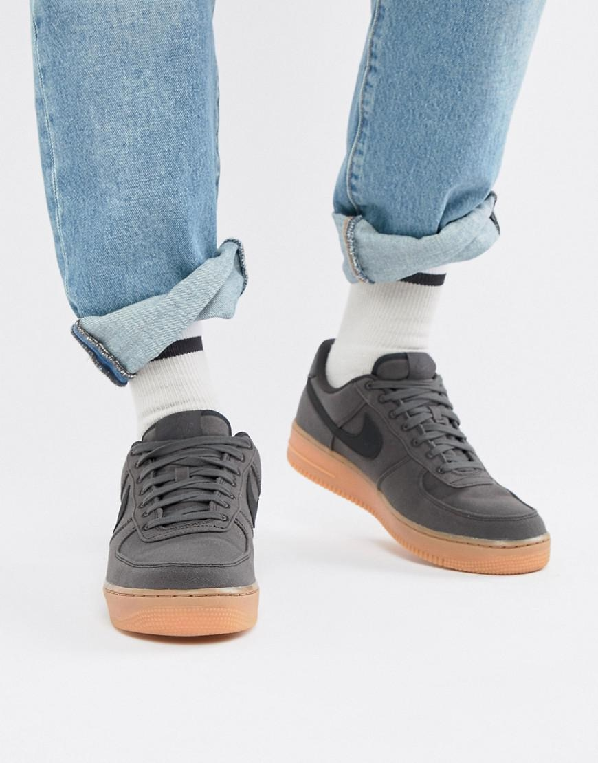 Nike Air Force 1  07 Style Trainers With Gumsole In Black Aq0117-002 ... 02841f6a9