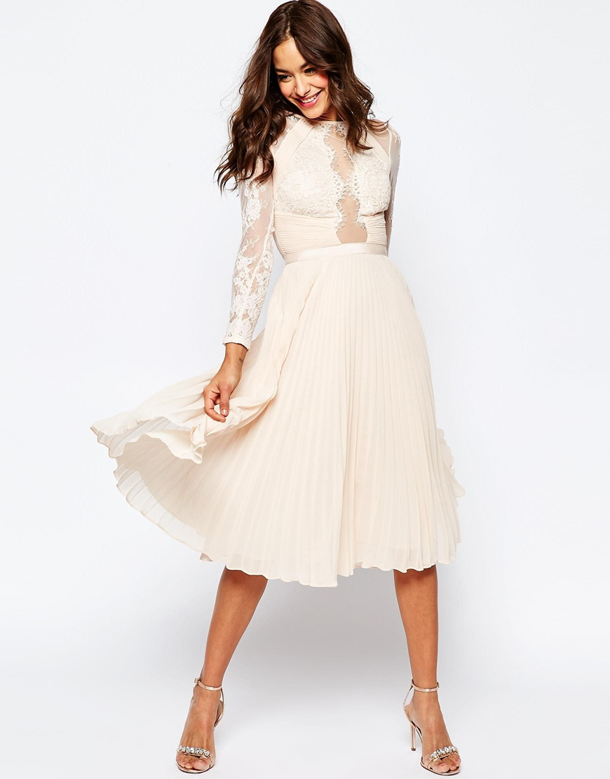 Asos Wedding Pretty Lace Eyelash Pleated Midi Dress Pink