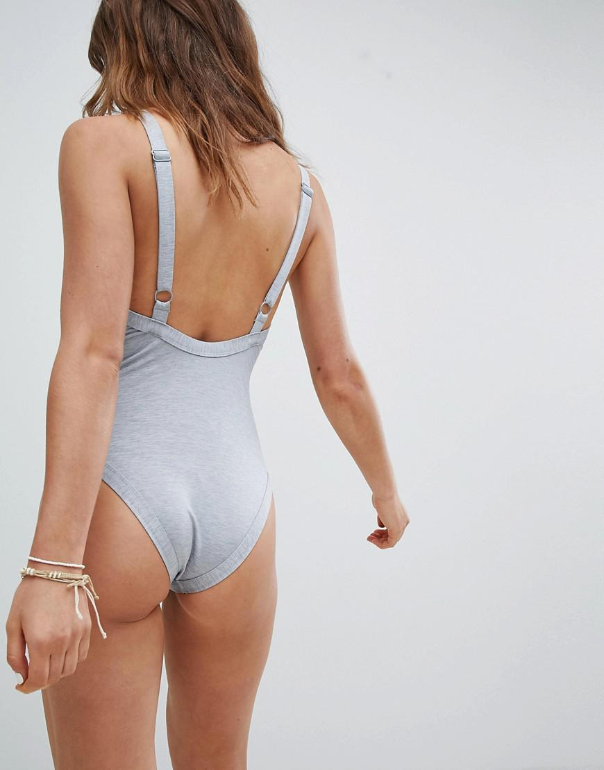a30ca3dfb5210 Lyst - RVCA Pipeline One Piece Grey Marl Swimsuit in Gray