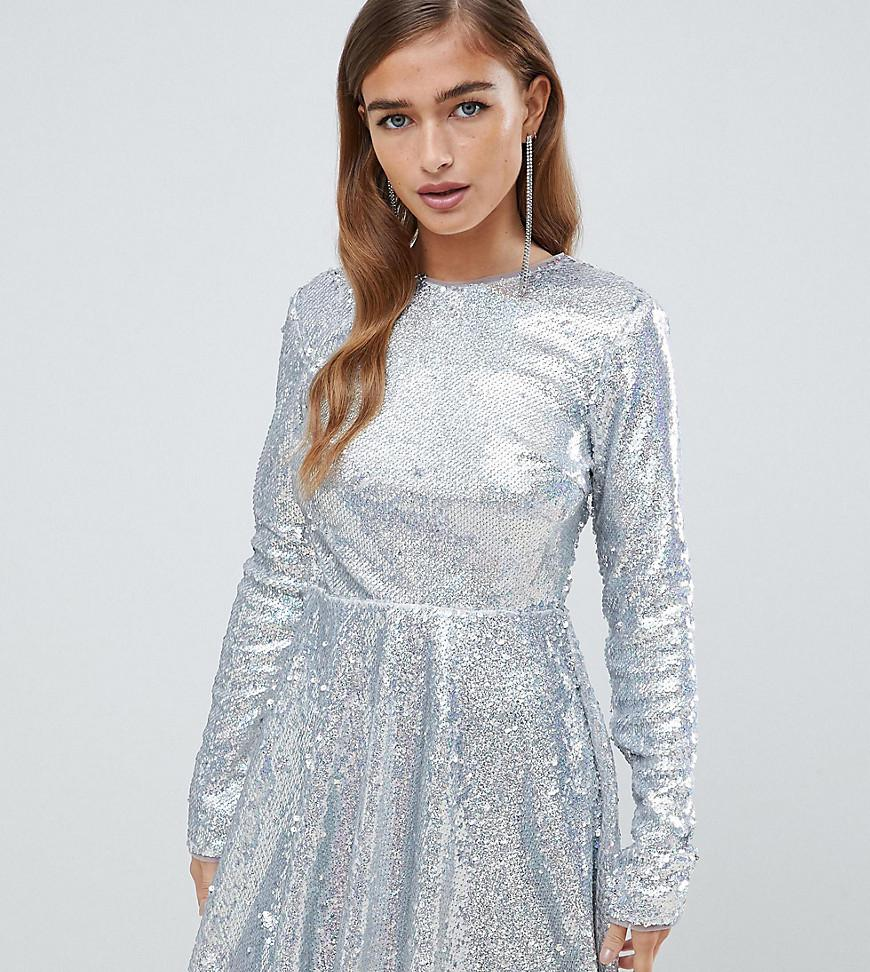 TFNC London. Women s Metallic Long Sleeve Fit And Flare Sequin Mini Dress  ... d01f324c9
