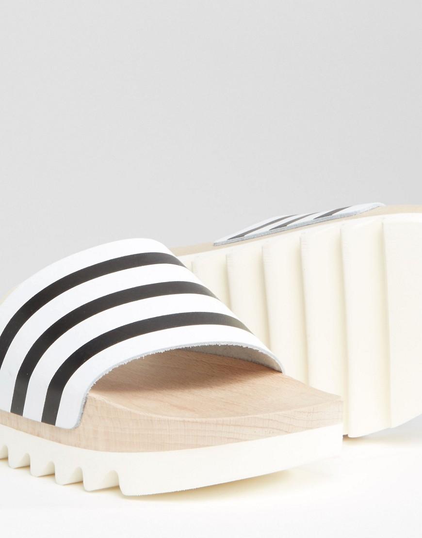 Adidas Originals Originals Adilette Wooden Sole Slider Flat Sandals In White   Lyst