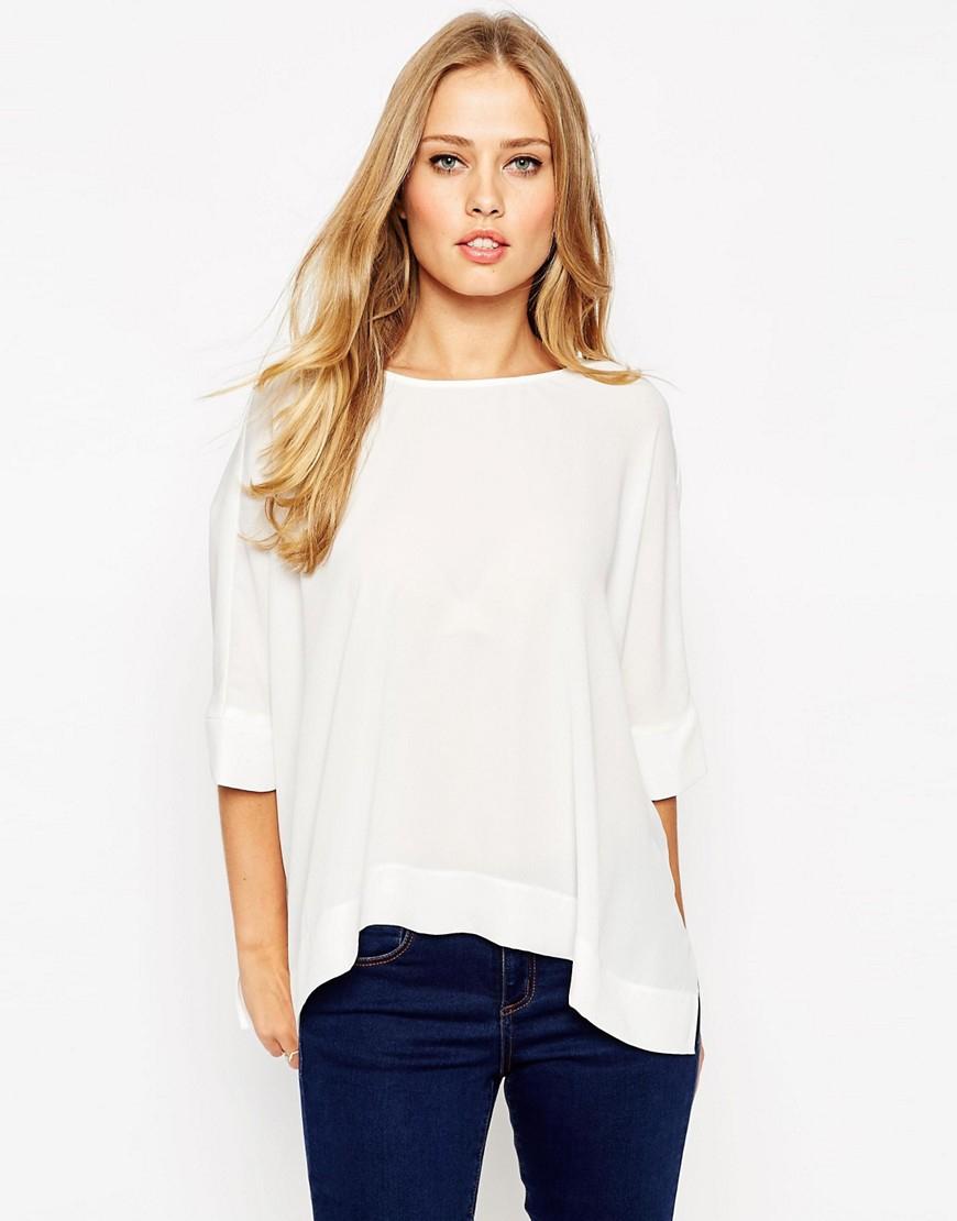 Lyst asos oversize kimono t shirt with v back in white for Asos design free t shirt