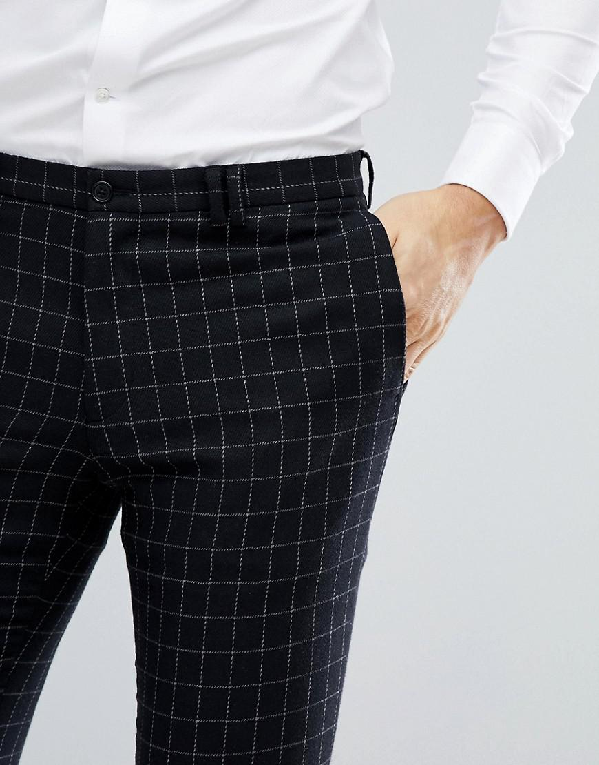 luxury aesthetic outlet boutique skate shoes Noak Black Skinny Suit Trouser In Grid Check for men