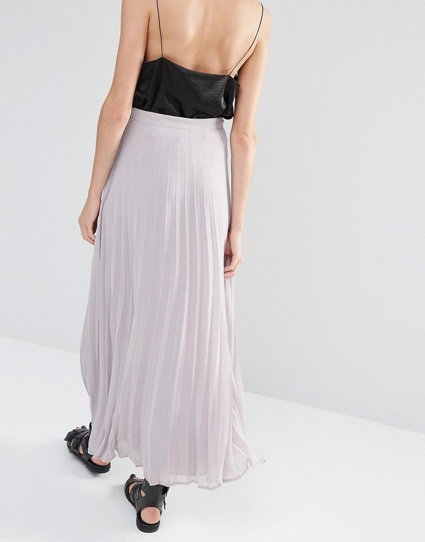 warehouse pleated maxi skirt in gray lyst