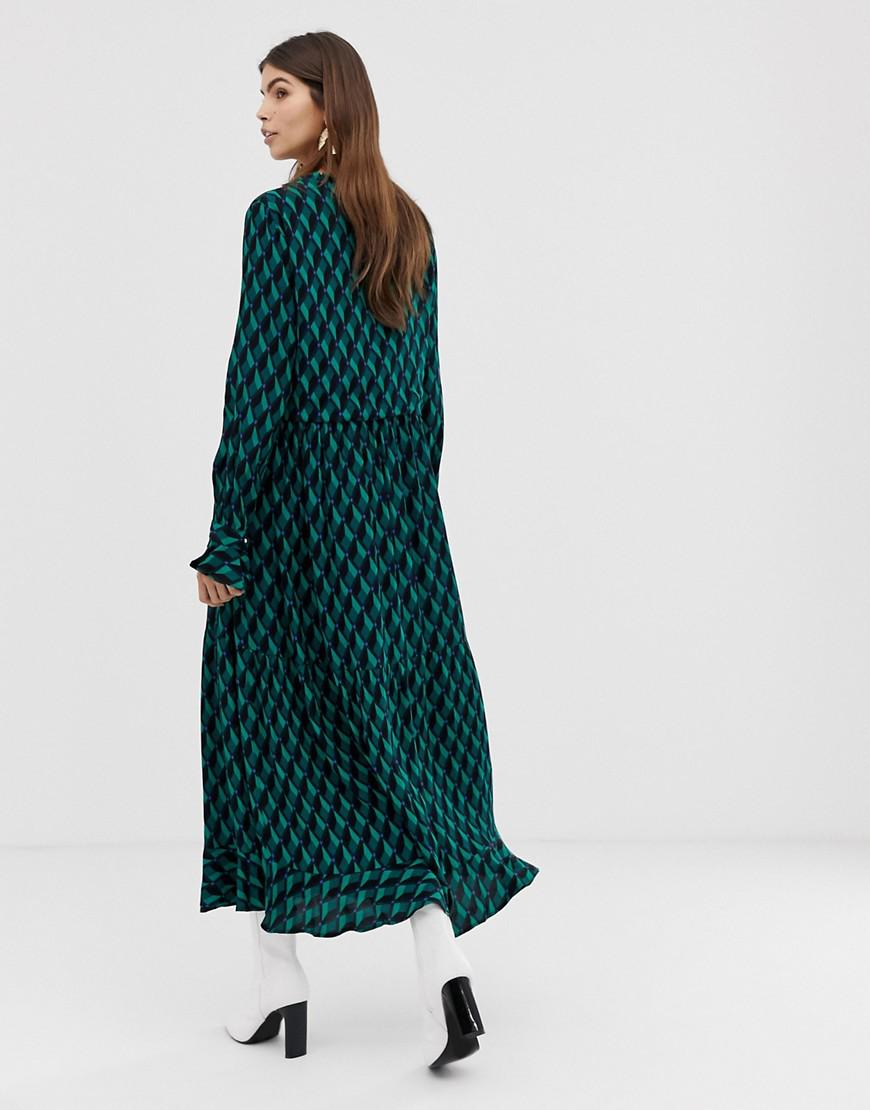 4e9dc71e3 Y.A.S Geo Printed Maxi Shirt Dress in Green - Lyst