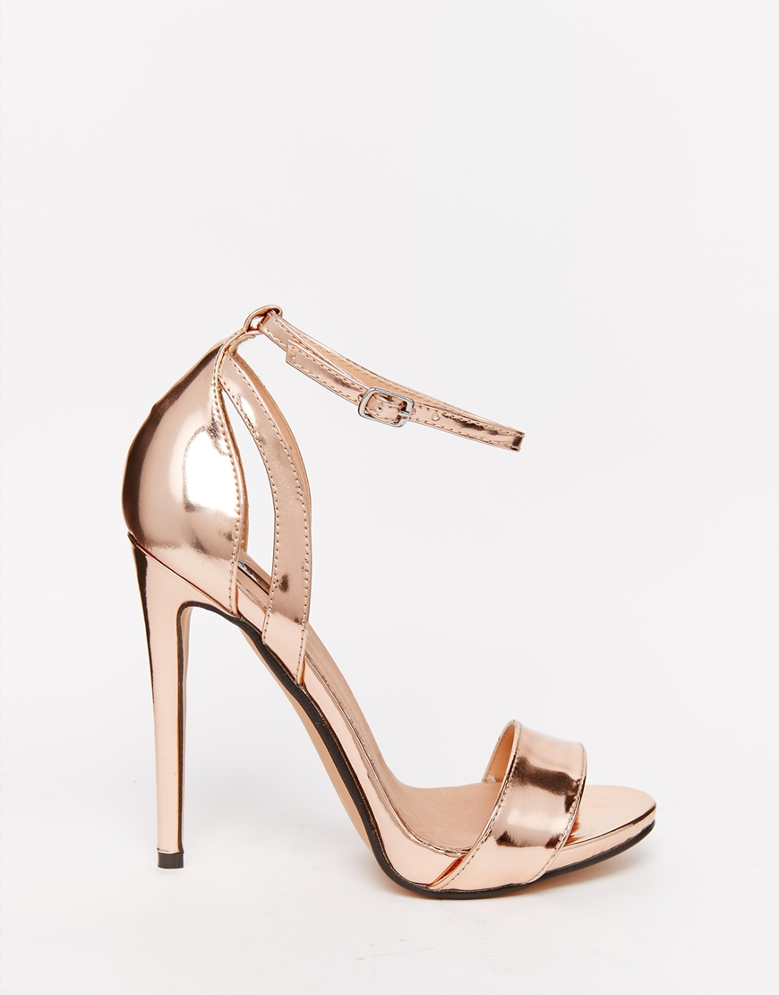Lost ink Raula Metallic Faux-Leather Sandals in Metallic | Lyst