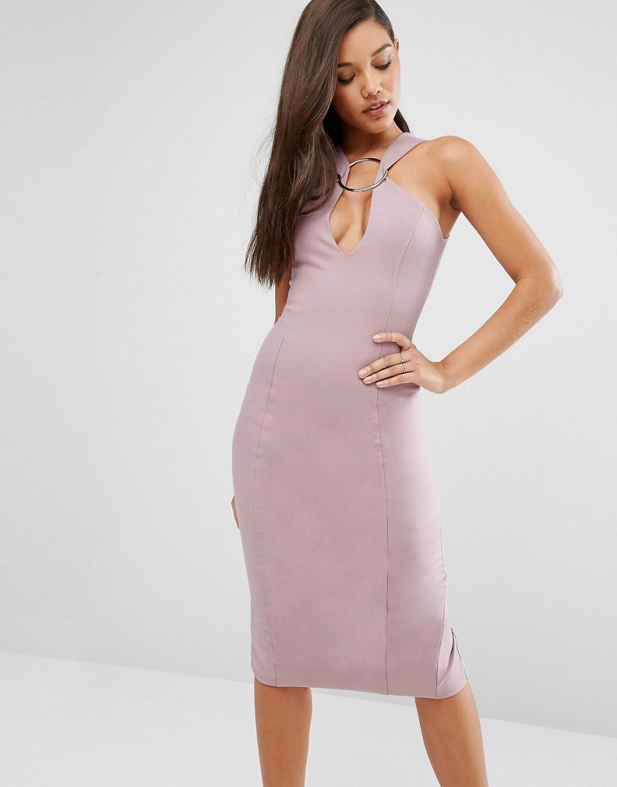40ae15fabe7 Lavish Alice Metal Ring Plunge Detail Midi Dress in Pink - Lyst