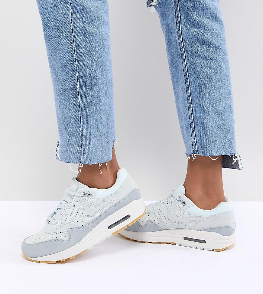 40d5f25329f Nike Air Max 1 Trainers In Perforated Suede in Gray - Lyst